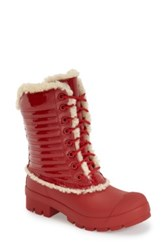 Hunter Original Genuine Shearling And Patent Leather Lace Up Rain Boot Red