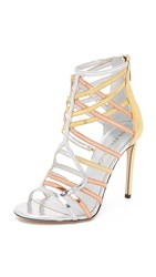 Tamara Mellon Goddess Sandals Silver Gold Copper