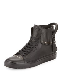 Buscemi 125Mm Leather High Top Sneaker With Fringe Black