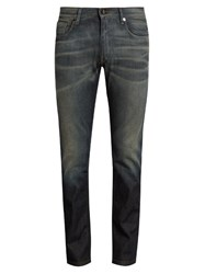 Fendi Low Rise Slim Fit Distressed Jeans Blue