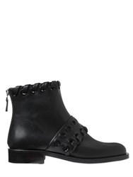 Fendi 20Mm Eyelets Leather Ankle Boots