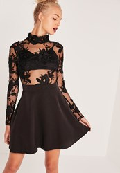 Missguided Lace Top Long Sleeve Skater Dress Black