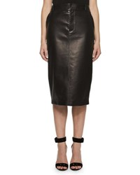 Tom Ford Perforated Leather Pencil Skirt Black