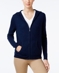 Charter Club Cashmere Zip Front Hoodie Only At Macy's Admiral