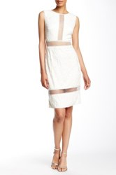 Tadashi Shoji Sheer Beaded Embroidered Sheath Dress White