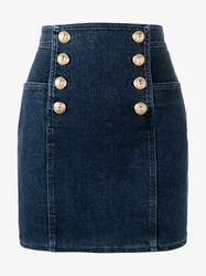 Balmain High Waisted Denim Mini Skirt Blue Denim