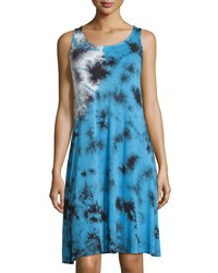 Neiman Marcus Sleeveless Printed Knit Dress Blue