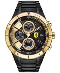 Scuderia Ferrari Men's Chronograph Redrev Evo Black Ion Plated Stainless Steel Bracelet Watch 46Mm 0830303 Black Gold