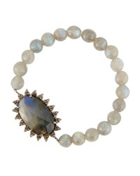 Bavna Mixed Labradorite And Diamond Beaded Stretch Bracelet Women's
