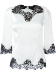 Dolce And Gabbana Lace Detail Blouse White