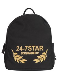 Dsquared Logo Embroidered Canvas Backpack