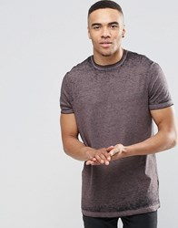Asos Longline T Shirt With Burnout Wash In Dusky Purple Dusky Lilac Grey
