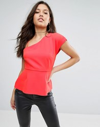 Asos One Shoulder Top With Strap Red