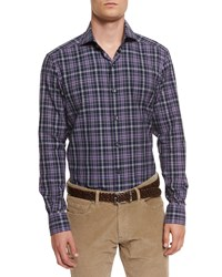 Ermenegildo Zegna Brushed Melange Plaid Sport Shirt Purple