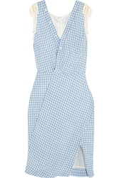 Altuzarra Portia Gingham Crinkled Poplin Dress Blue