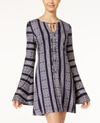 Teeze Me Juniors' Printed Bell Sleeve Shift Dress Navy