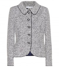 Oscar De La Renta Coated Boucle Jacket Blue