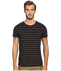 Vince Cotton Modal Shadow Stripe Short Sleeve Crew Black