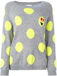 Chinti And Parker Polka Dot Emoji Sweater Grey