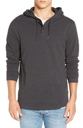 Rvca Men's 'Pick' Henley Hoodie Charcoal Heather