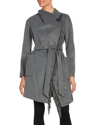 Bcbgeneration Fringed Belted Wrap Coat Charcoal