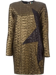 Msgm Contrasting Star Sequin Dress Metallic
