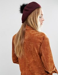 Asos Faux Fur Pom Wool Beret Red
