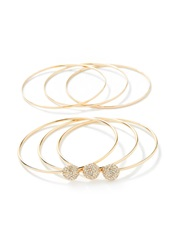 Forever 21 Rhinestone Bauble Charm Bangles Gold Clear