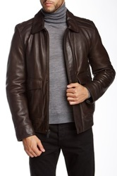 Vince Camuto Split Collar Leather Jacket Brown