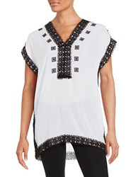 Michael Michael Kors Crochet Trimmed Tunic White Black