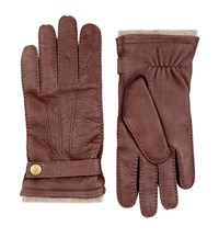Harrods Of London Cashmere Lined Leather Gloves Unisex Brown