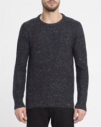 Revolution Navy Mix 6001 Rib Knit Border Fitted Round Neck Sweater Blue