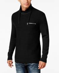 Inc International Concepts Men's Textured Funnel Neck Sweater Only At Macy's Deep Black