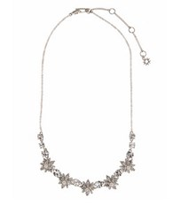 Marchesa Simulated Pearl And Brass Floral Necklace Silver