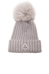 Moncler Fur Pom Ribbed Beanie In Gray