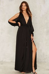 Slit This One Out Satin Maxi Dress Black