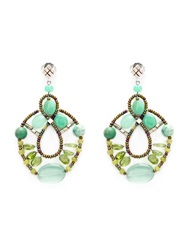 Ziio Murano Glass Bead Earrings Green