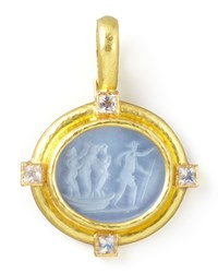 Goddess On Boat Intaglio 19K Gold Pendant Cerulean Elizabeth Locke Gold Blue