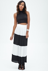 Forever 21 Pleated Striped Maxi Skirt