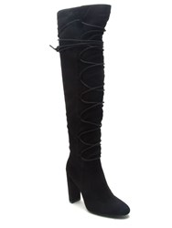 Qupid York Lace Up Knee Boot Black