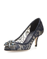 Dolce And Gabbana Jewel Embellished Lace Pump Blu Notte
