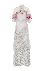 Peter Pilotto Floral Embroidered Gown White