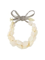 Chanel Vintage Camellia Tie Necklace White
