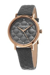 Stuhrling Women's Crystal Studded Quilted Dial Dress Watch Gray