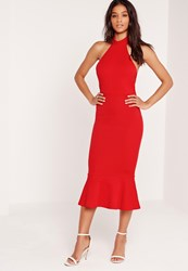 Missguided Halter Neck Fishtail Maxi Dress Red Red