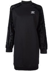 Adidas Originals Velour Sleeve Sweatshirt Dress Black