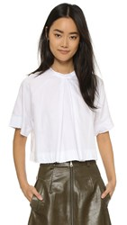 Shakuhachi Button Back Top White