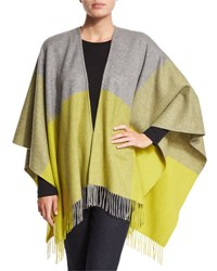 Neiman Marcus Two Tone Wool Ruana Shawl Flannel Gray Citron