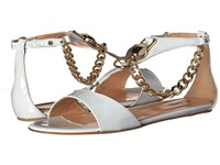 Just Cavalli Patent Leather With Metal Snake Off White Women's Sandals