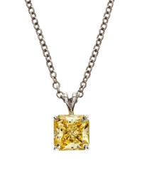 Fantasia Square Canary Cz Pendant Necklace Women's